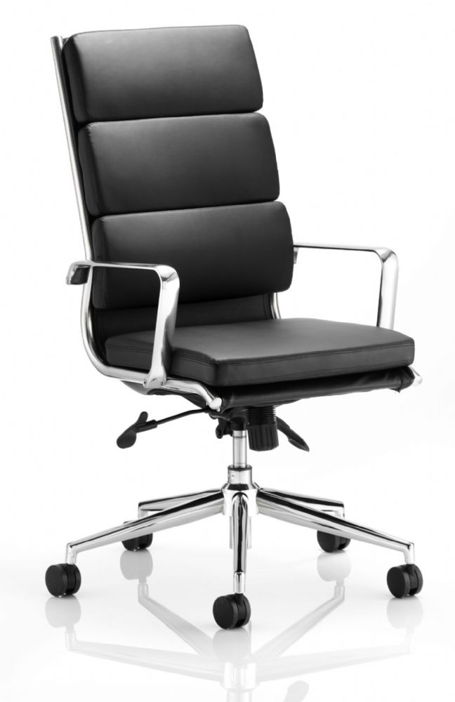 Savoy Executive High Back Meeting Chair Fixed Arms Deeply Padded Black Bonded Leather